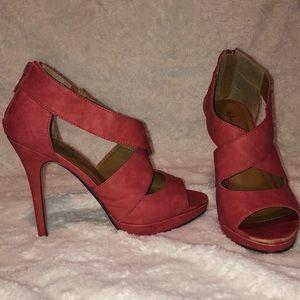 Coral Zip Heels